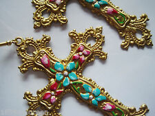 Art Nouveau Art Deco earrings cross Byzantine statement vintage style LARGE