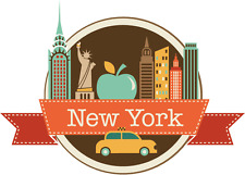 "New York USA World City Travel Label Badge Car Bumper Sticker Decal 5"" x 4"""