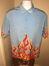 Men's (M) Blue Jnco Jeans Red Flame Button Down Short Sleeve Shirt
