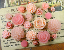 20pcs - Resin Flower Cabochons - Peach