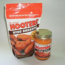 New Combo Lot 12oz Jar Original Hooters Hot Wing Sauce Mild Medium &1lb Breading