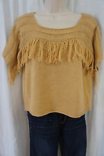 Material Girl Midriff Top Sz L Tan Latte Knitted Sweater Top Casual Outing Shirt