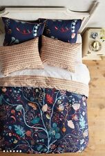 NWT Anthropologie NELIA Queen Duvet Sold Out! Blue Foliage Flowers Bloom Cotton
