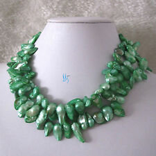 """49"""" 6-7mm Pale Green Baroque Mother Of Freshwater Pearl Necklace"""