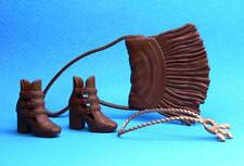 2016 Barbie Fashionistas Brown Low Heel Shoes Fringe Purse Necklace