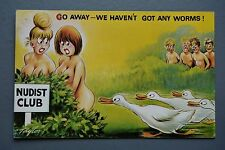 R&L Postcard: Comic, Bamforth 576 Nudist Club, Large Breast Women Ducks Worms