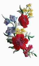 "#5066 5-1/4"" Blue,Yellow,Red Wild Flower Embroidery Iron On Applique Patch-Left"