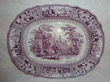 Amazing 19th.c Staffordshire Purple Transferware Platter, c.Mid 1800's, Antique