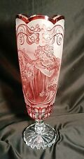 Czech Art Nouveau Alphonse Mucha Inspired Cameo Glass HUGE Vase HAND Engraved