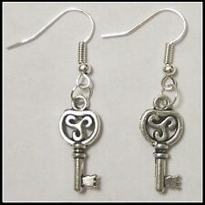 Celtic Triskele Key to my Heart  Earrings by Slave Violet Jewelry Free Shipping