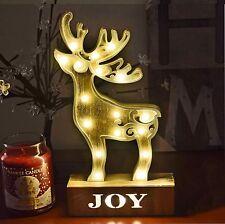 17 LED luce bianca calda luce in Legno Renna Natale Festive Decorazione Tavola