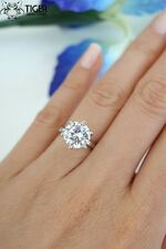 Pure Sterling Silver $120 3 ct Carat Round cz Clear Engagement Wedding ring 5-10