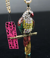 B10 Betsey Johnson Crystal Enamel Color Parrot Pendant Sweater Chain Necklace