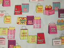 SHOPPING BAGS SHOP LOCAL SUPPORT SHOPS BLUE COTTON FABRIC FQ