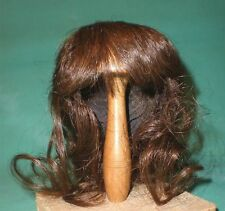 "doll wig/ human hair 10"" to 10.5"" dark brown w. ponytail"
