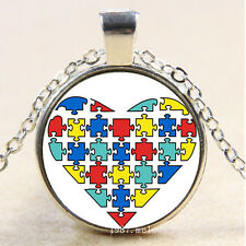 Cabochon Glass Silver charms Pendant Necklace Heart Autism awareness