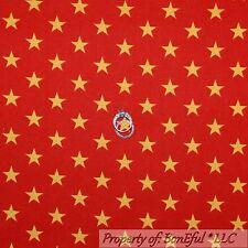 BonEful Fabric Cotton Quilt Red Gold American STAR USA Super Hero Stripe L SCRAP