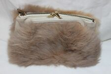 Vintage ca 1960's Nappa Hide Real Fur Ermine Clipper 2 Compartment Change Purse