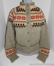 VTG 60s 70s HAND KNIT NORDIC BOHO WOOL BLEND SWEATER BUTTON DOWN CARDIGAN M