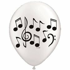 "Quantity 10 White Black Music Note Latex 11"" Balloon Party Decorating Supplies"