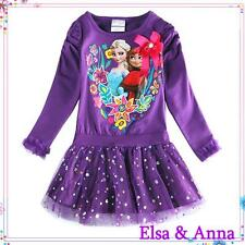 Kids Girl Christmas Party Dress Purple ELSA ANNA Flower Girls Dresses AGE 6Y-7Y