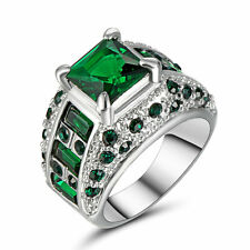Fashion Jewelry Womens Green Emerald White Gold Filled Wedding Ring Gift Size 7