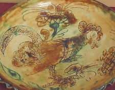 magnifique ancienne plat en ceramique gres coq signé vallauris capron jouve doix