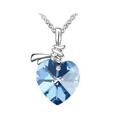 Beautiful Platinum Plated Blue Austrian Crystal Heart Pendant Necklace