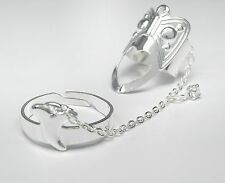 NEU Doppelring RING Knöchelring KETTEN RING Double Band Chain Ring in silber