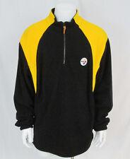 NFL Team Apparel Pittsburgh Steelers Mens Pull Over Zip Up Fleece Jacket Large
