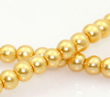 2 STRANDS 4mm CHAMPAGNE GOLD ROUND GLASS PEARL BEADS~Wine Glass Charms (16C) UK.