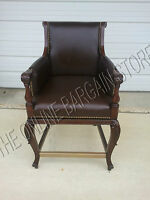 Frontgate Acanthus BAR chair leather Counter Barstool wood stools 30 redbark