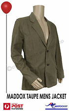 MADDOX UK Mens Jacket Size Large Taupe Dark Tan V Stitch BNWT Fashion Hipster