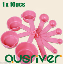 Pink 10Measuring Spoons Set Bakery Cooking Kitchen Utensil Tool Helper Spice Cup