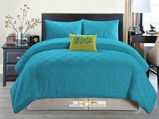 4-P Diamond Pleated Comforter Set Embroidered Pillow Turquoise Blue Yellow Queen
