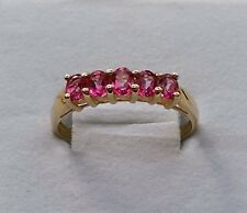 9CT YELLOW GOLD PINK TOPAZ FIVE STONE HALF ETERNITY RING SIZE U.