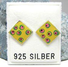 NEU 925 Silber RAUTEN OHRSTECKER gelb/grün/pink PÜNKTCHEN MUSTER OHRRINGE