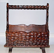 Vintage Carved Wood Magazine Newspaper Rack Made in Spain