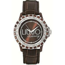 Liu Jo Orologio Watch Woman Uhr Baguette Donna TLJ162 Pelle Marrone Strass Brown