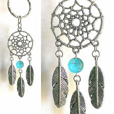 ☆AUSTRALIAN MADE☆SILVER DREAMCATCHER  KEY RING PENDANT CHARM TURQUOISE GEMSTONE