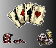 Set of 3 - Vegas cards aces dice poker chips sticker vinyl decal