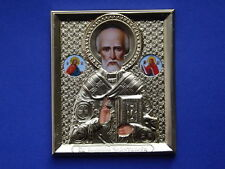ORTHODOX RUSSIAN ICON - WONDERWORKER ST NICHOLAS , brass oklad