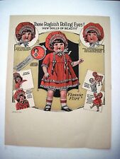 "RARE 1925 Advertising Print for ""Flossie Flirt"" Doll w/ Roguish Rolling Eyes *"