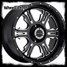 20 inch black milled Vision Rage 397 wheels lifted Toyota Tundra 20x9 5x150 +12