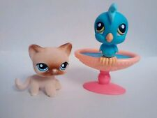 Littlest Pet Shop fuzzy Siamese #318 and Cockatoo #317