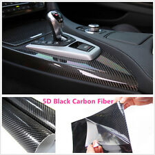 "15""x40"" 5D Ultra Shiny Gloss Glossy Black Carbon Fiber Vinyl Wrap Sticker Decals"
