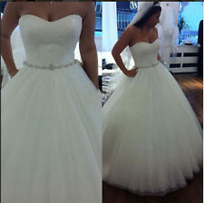 White/Ivory Lace Tulle Bridal Gown Wedding Dress Custom Size 4 6 8 10 12 14 16++