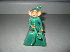 Vintage Green Pixie Elf Ceramic Bell Christmas Elf Hand Painted Face
