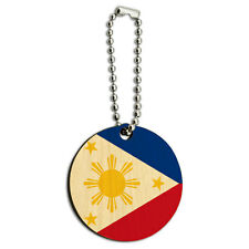 The Philippines National Country Flag Wood Wooden Round Key Chain