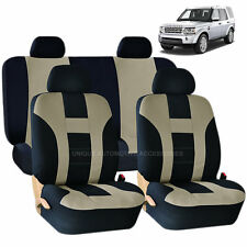 BEIGE & BLACK DOUBLE STITCH SEAT COVERS 8PC SET for LAND RANGE ROVER